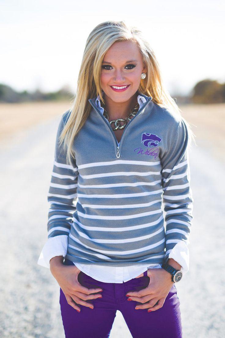Kansas State Striped Quarter Zip Jacket- want