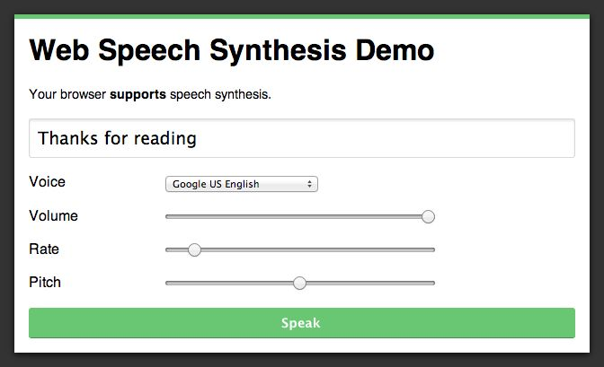 Learn how to use the speech synthesis API to give your web apps a voice.