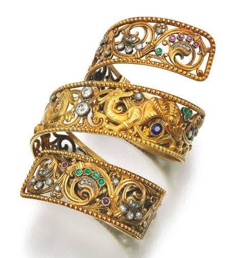 Masriera Gold, Diamond, Sapphire, Ruby and Emerald arm band ca. 1920's