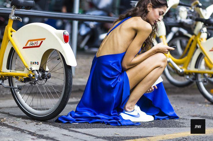 Sara Nicole rossetto wearing Nike during Milan fashion Week Spring Summer 2015. | @andwhatelse