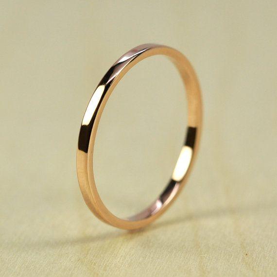 Rose Gold Wedding Band Skinny Stacking Ring von seababejewelry