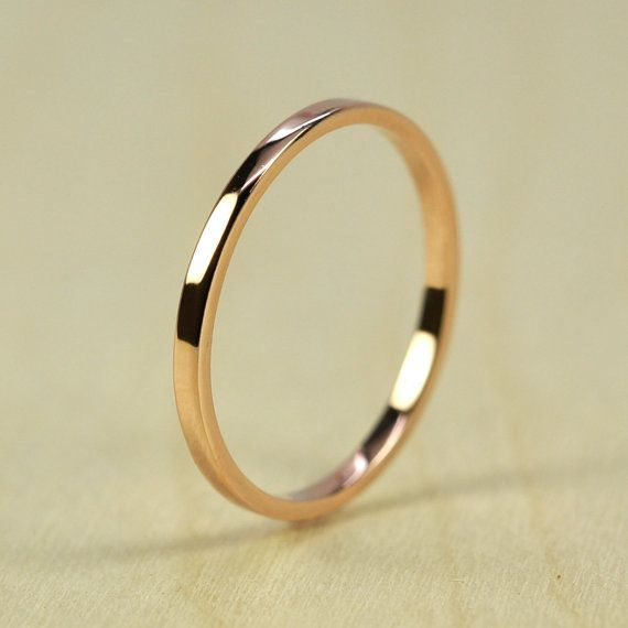 Rose Gold Wedding Band, Skinny Stacking Ring 1.5mm by 1mm Squared Edge, Recycled Eco Friendly, 14K Gold sizes 3-6, Sea Babe Jewelry    RING SIZE: