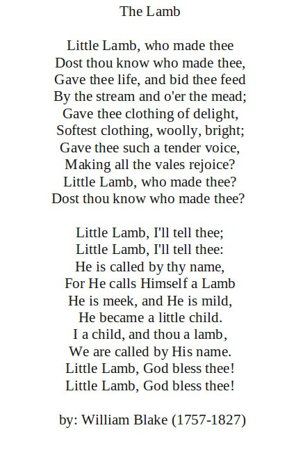 The Lamb by: William Blake (1757-1827)  http://annabelchaffer.com/