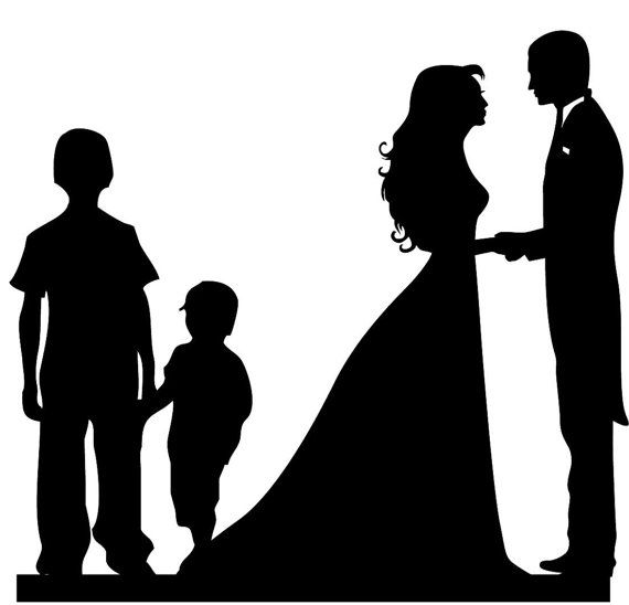 Family Silhouette Wedding Cake Toppers