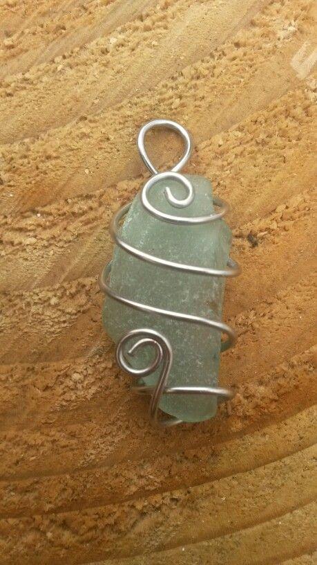 Genuine Irish sea glass. Handmade pendant.