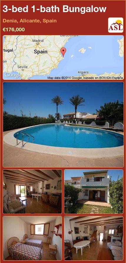 3-bed 1-bath Bungalow in Denia, Alicante, Spain ►€176,000 #PropertyForSaleInSpain