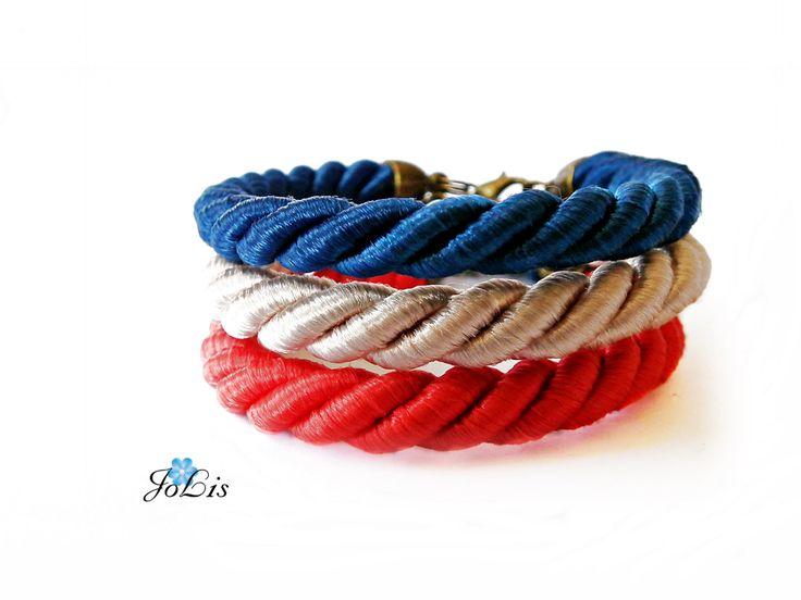 Set of silk cord bracelets. Bracelet silk cord. Set of 3 bracelets. Gift for her. Trendy Gift. by MadeByJoLis on Etsy