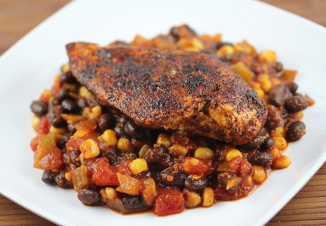 Blackened Chicken with Beans Recipe | Free Delicious Italian Recipes | Simple Easy Recipes Online | Dessert Recipes