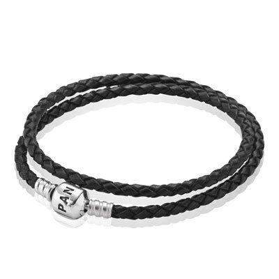 Create a layered effect with PANDORA's double leather black bracelet! #PANDORA #PANDORAbracelet #Bracelet