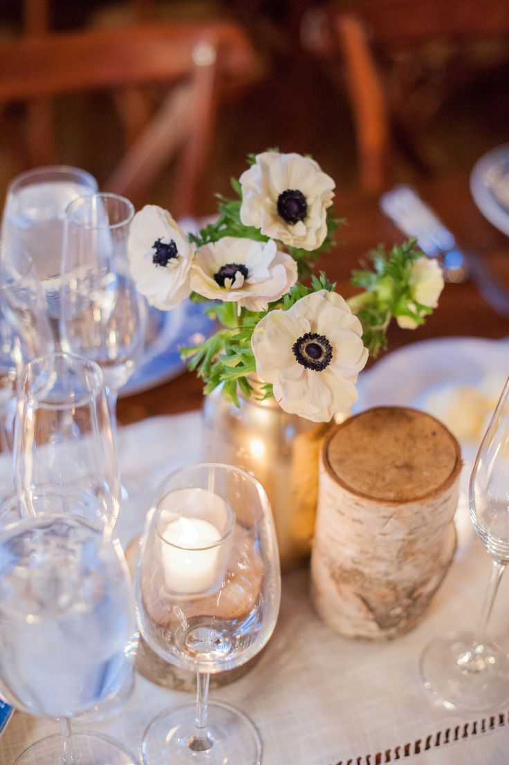 Ivory Anemone Centerpieces and Birch Accents