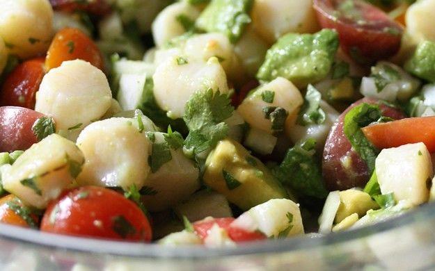 citrus scallop salad: Salad Recipes, Scallops Summer, Scallops Salad, Cherry Tomatoes, Summer Salads, Citrus Scallops, Cherries Tomatoes, Paleo Recipes, Bays Scallops