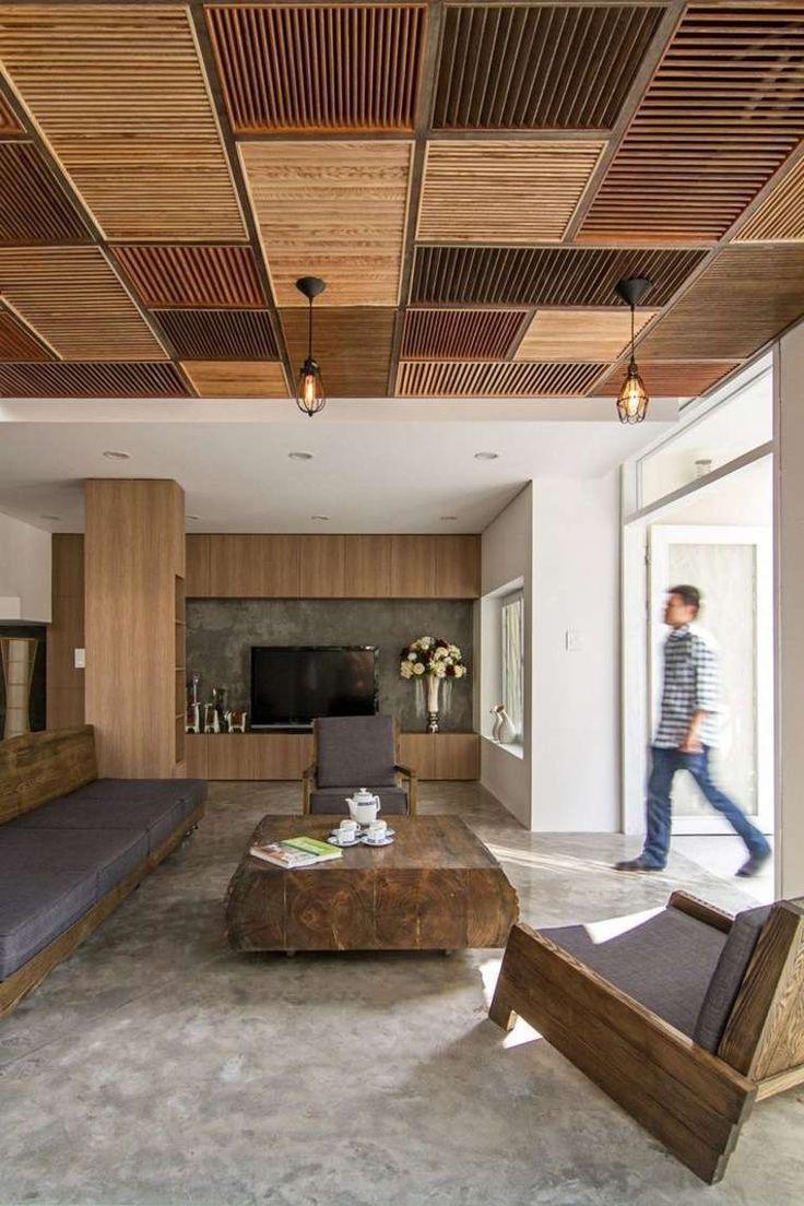 faux plafond en bois de design intéressant