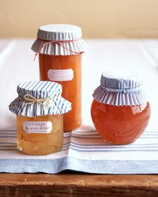 Quick Jar Covers:  Invert two cupcake wrappers (for opacity), and place them on top of your jar. Use a rubber band to hold them in place; tie with waxed twine or ribbon, and remove rubber band.