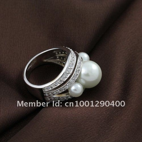 Beautiful Aliexpress Buy Chic Rhodium Plating Pearl Wedding Rings For Women With White Glass