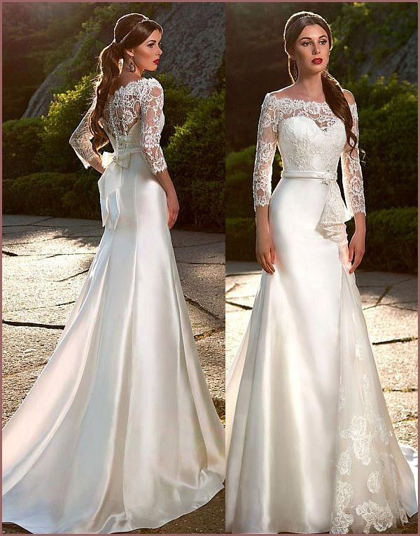 [205.00]  Elegant Satin & Tulle Lace Off-the-Shoulder Wedding Dresses with Lace Appliques