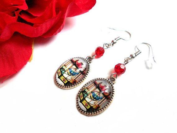 Rose rouge avec boucles d/'oreilles en cristal et perle