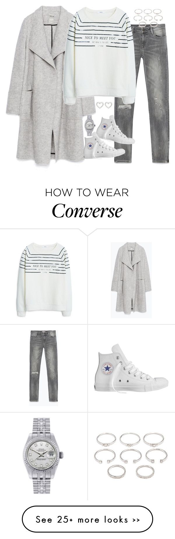 """Geen titel #3170"" by chiara-rinaldi on Polyvore featuring Zara, MANGO, Converse, Forever 21, Rolex and Marc by Marc Jacobs"