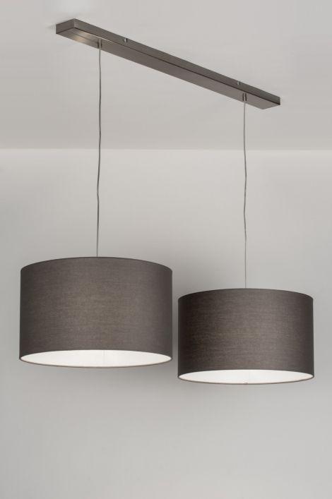 Geschikt voor LED. Mooie hanglamp, met 2 grijze stoffen kappen. De binnenkant van de kappen is wit. De plafondbalk is van staal. Breedte: 116.00 cm 2 x kap van 45cm.  Ook in de kleur rood , zwart , bruin , taupe , wit , zilver. Voor eettafel , keuken tafel . Belgium , Belgie Shop nu via deze Link en zie al onze lampen bij : www.rietveldlicht.be Keuze uit meer dan 3000 artikelen. Gratis verzending Belgium .