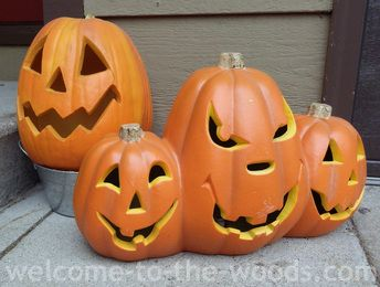 Jack-o-lantern front step decor for autumn and halloween.