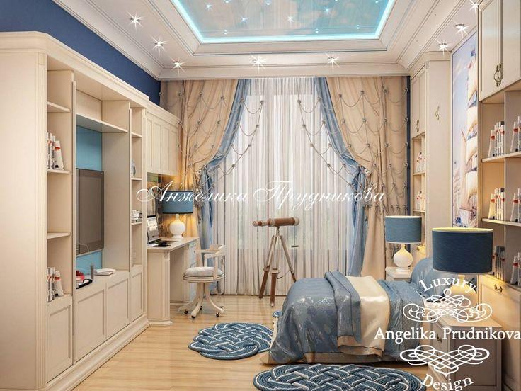Дизайн интерьера детской комнаты для мальчика в морской тематике на Крупской - фото
