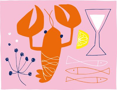 food illustration - susanne engman_flat colours, simple drawing