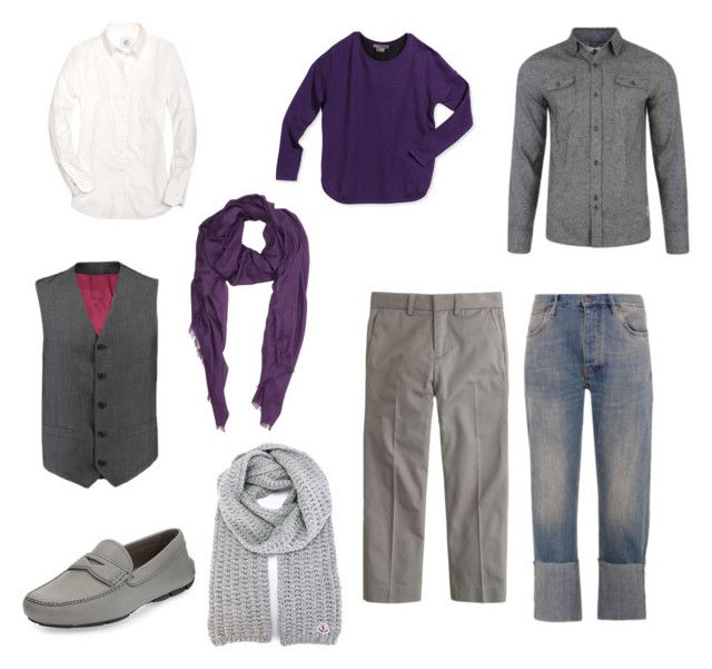 purple for men by siahaanastrid on Polyvore featuring Brooks Brothers, Vince, Bellfield, Charles Tyrwhitt, MiH Jeans, J.Crew, Prada, Barneys New York and Moncler