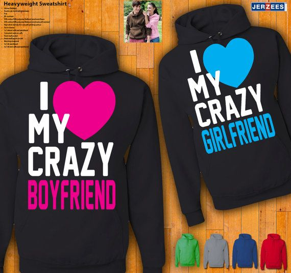 Couples Hoodies   I Love My Crazy Boyfriend / Girlfriend by 77Teez