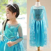 Dresses Girls Princess Anna Elsa Cosplay Costume Kid's Party ...