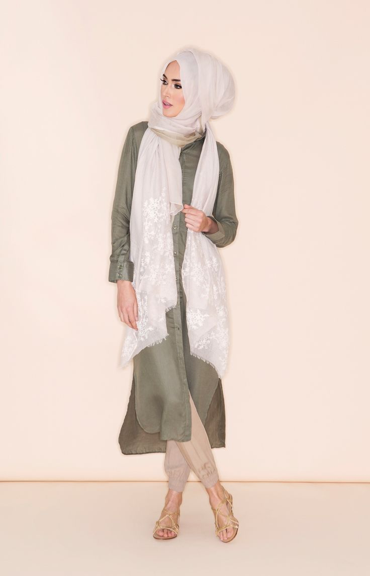 Shirt Dress - Olive | Aab - the combination of olive, beige and pastel white gel so well together. Cool, calm and lovely <3