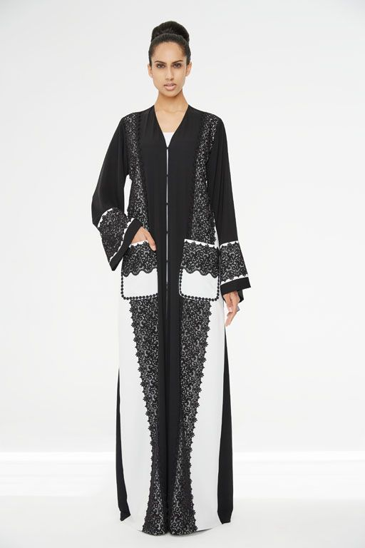 Arabesque signature classic cut abaya embellished with French guipure lace in combination with light crepe satin.