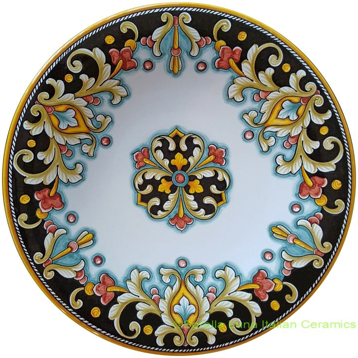 Italian Hand Painted Ceramic Majolica Plate | 30cm  sc 1 st  Pinterest & 62 best Painted Italian Ceramic and Porcelain images on Pinterest ...