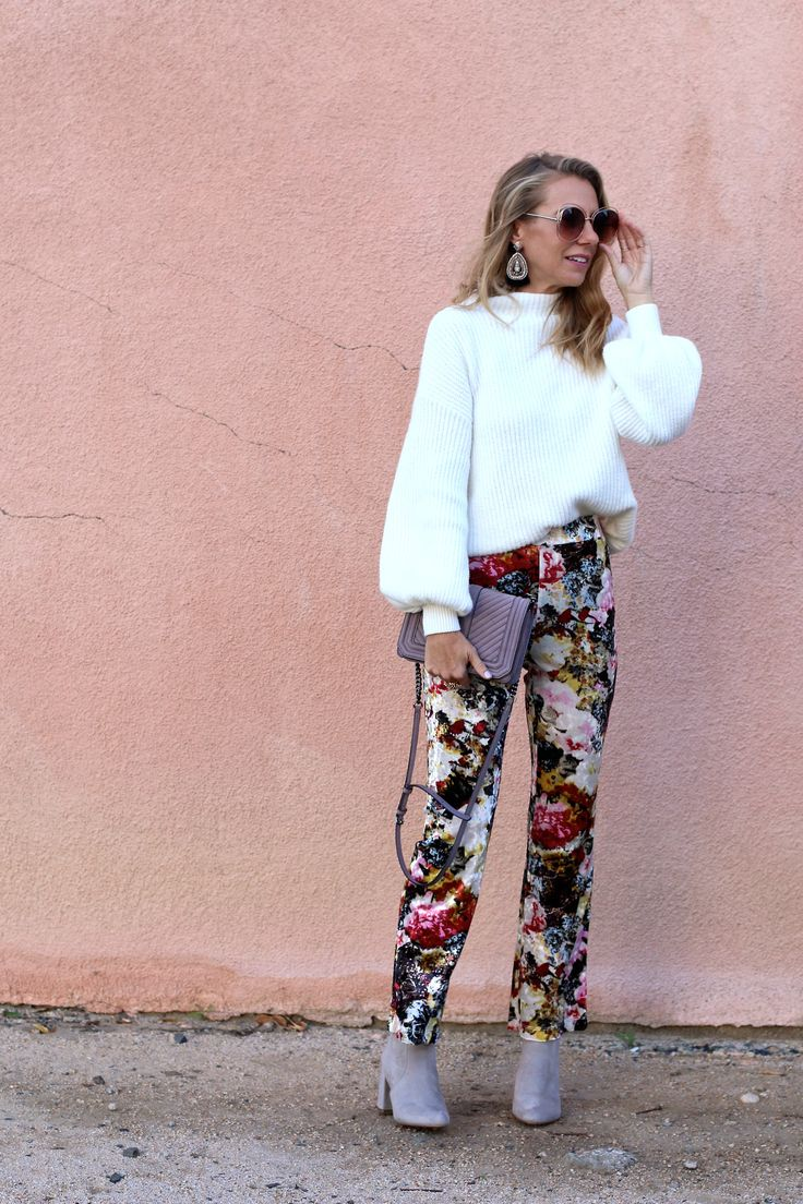 3 WAYS TO STYLE A WINTER WHITE SWEATER - Jaclyn De Leon Style + cozy balloon sleeve sweater + floral velvet cropped pants + statement earrings + bohemian style sunglasses + block heel boots + rebecca Minkoff handbag + holiday style look + what to wear to a holiday party + dressing up a sweater + date night look