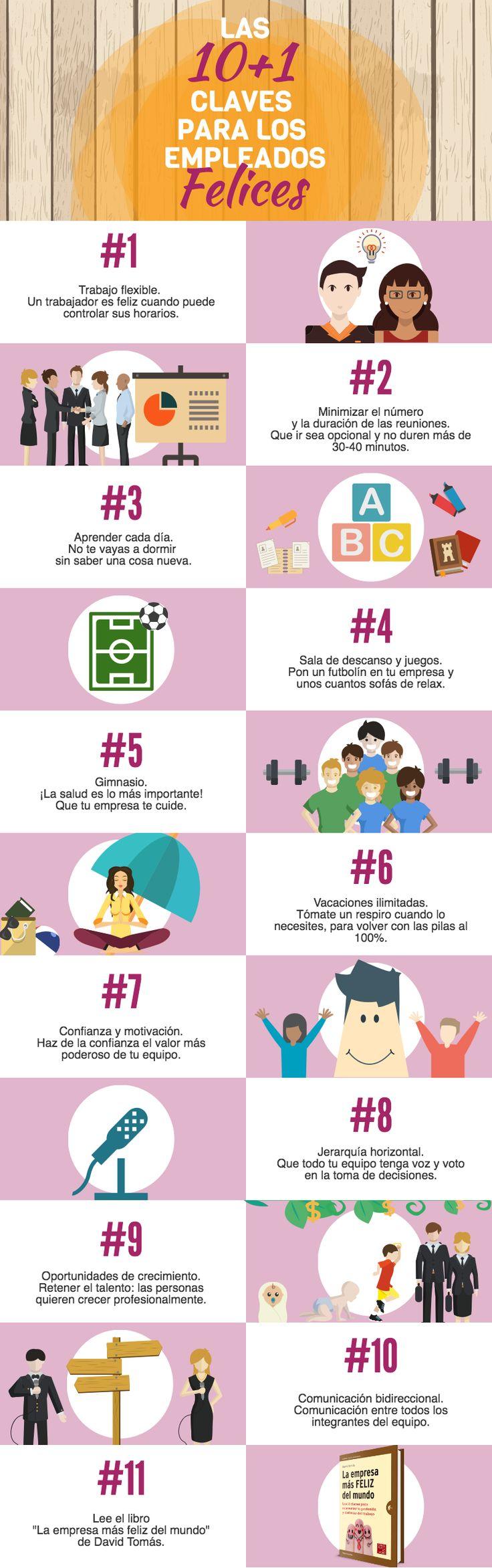 10+1 claves para tener empleados felices #infografia                                                                                                                                                                                 Más