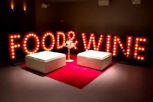 At the culinary event at New Yorks Pranna on April 2, large marquee letters spelling out Food & Wine surrounded a lounge area. #eventprofs #lighting #signage
