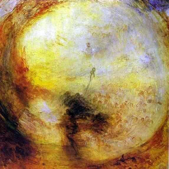"""William Turner - """"Lumière et couleur (la théorie de Goethe) – le lendemain du déluge, Moïse écrivant le livre de la genèse"""" (1843) - Huile sur toile, 78,5 × 78,5 cm."""