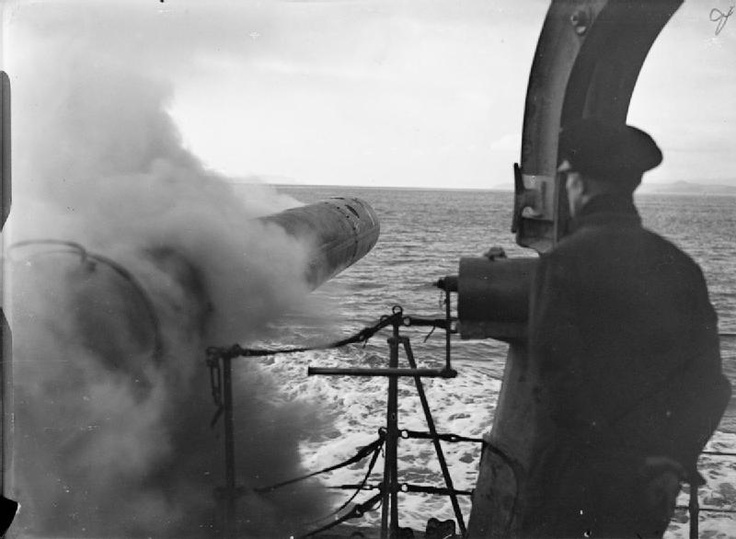 A torpedo leaving its tube during a firing practice on board the Polish destroyer ORP Piorun, formerly HMS Nerissa. 1940.