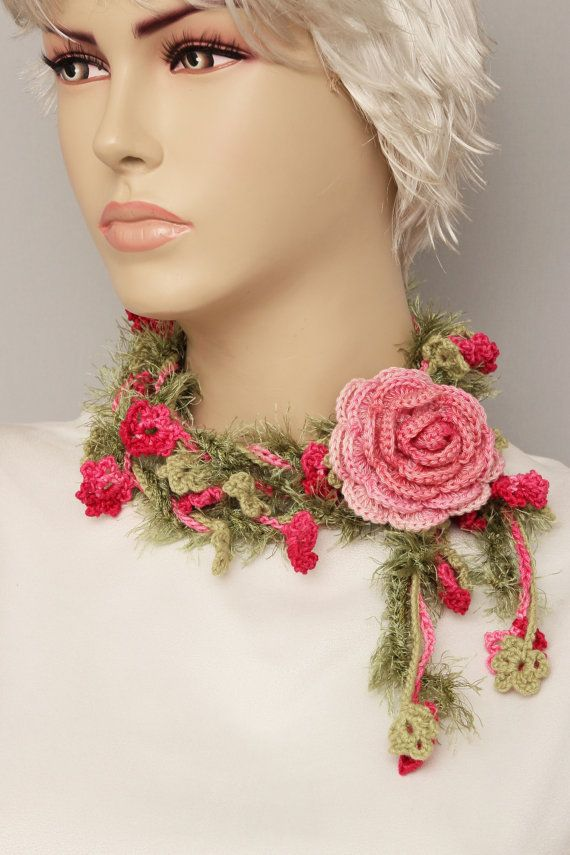 Flower  crochet  lariat scarf ,lariat crochet jewelry WITH REMOVABLE FLOWER pin