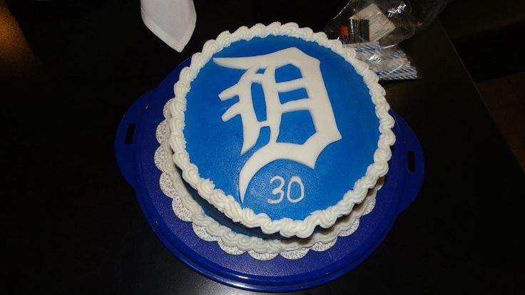 """Detroit tigers birthday cake. My mom made this for my husbands birthday. The """"D"""" is white fondant cut with an exacto knife."""