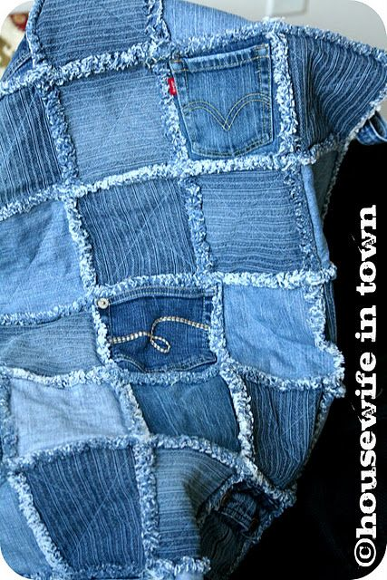 Rag quilt with old jeans.