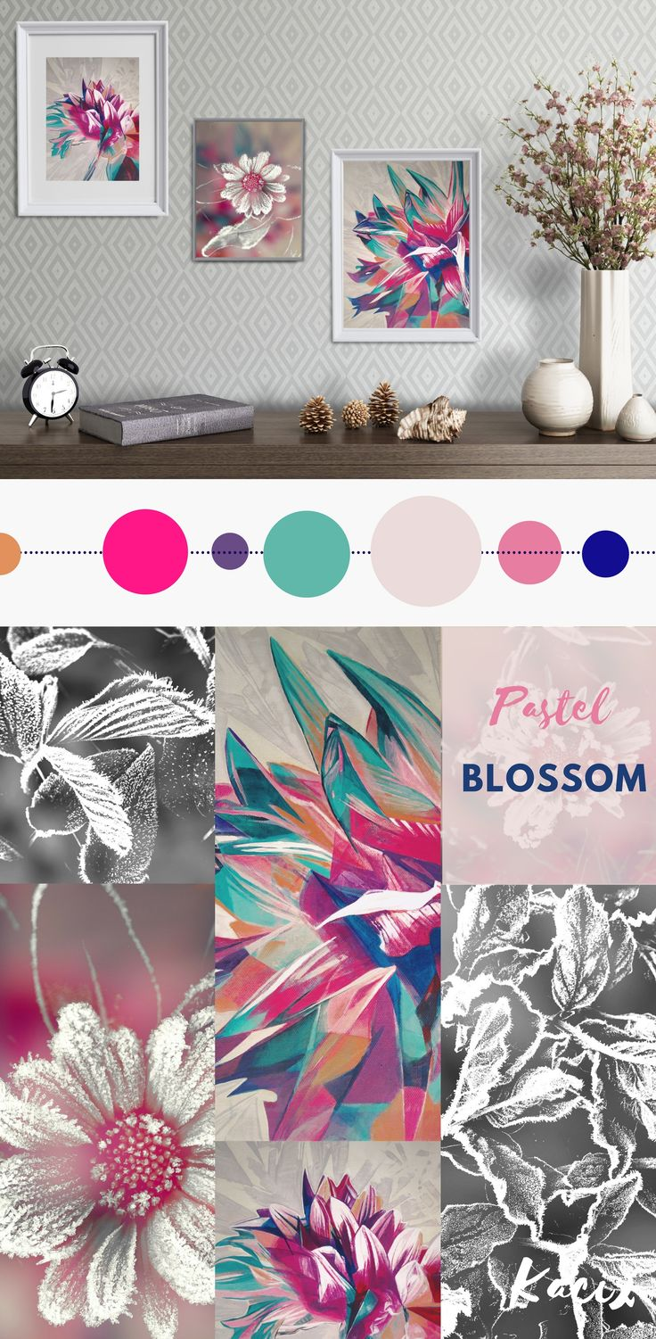 Pink and blue wall decor with the floral motif - a painting of dahlia flower and close-up photography of frozen marigold. Original combination for modern bedroom, dining room or living room. #floralprint #pastel #pasteldecor #gallerywall  #flowerpainting