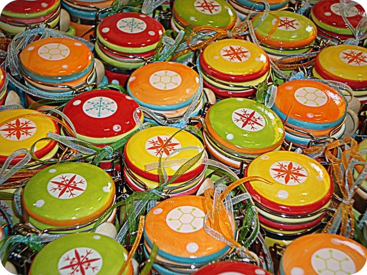 Χρωματιστά κεραμικά βαζάκια με γλυκό κουταλιού Κεράσι για Βάπτιση (Ιούλιος 2009)