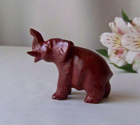 Vintage Baby Elephant Hand Carved Cinnabar by CynthiasAttic