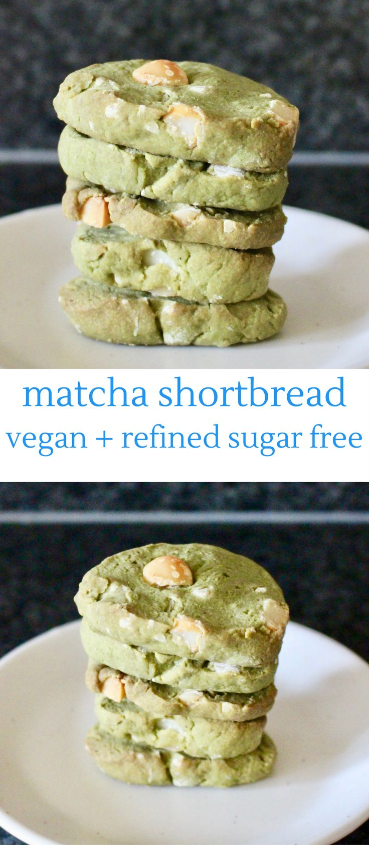 Matcha Green Tea Shortbread (Vegan + Refined Sugar Free)