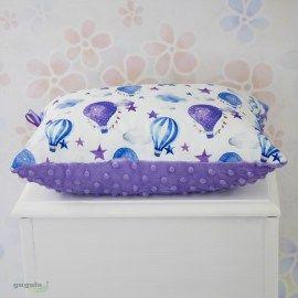 Poduszka minky fioletowy/baloniki