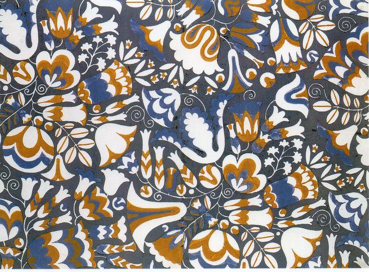TEXTILE Design, Bavaria fabric design (stencil design on paper) by Carl Otto Czeschka ▪ Wiener Werkstätte ▪ c1910-11: