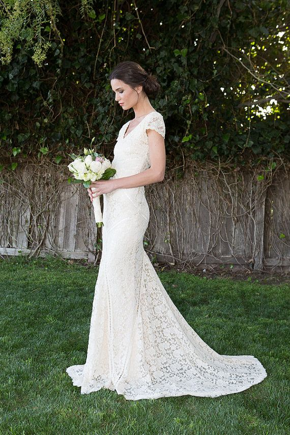 Bohemian Wedding Dress STRETCH LACE GOWN by Dreamersandlovers