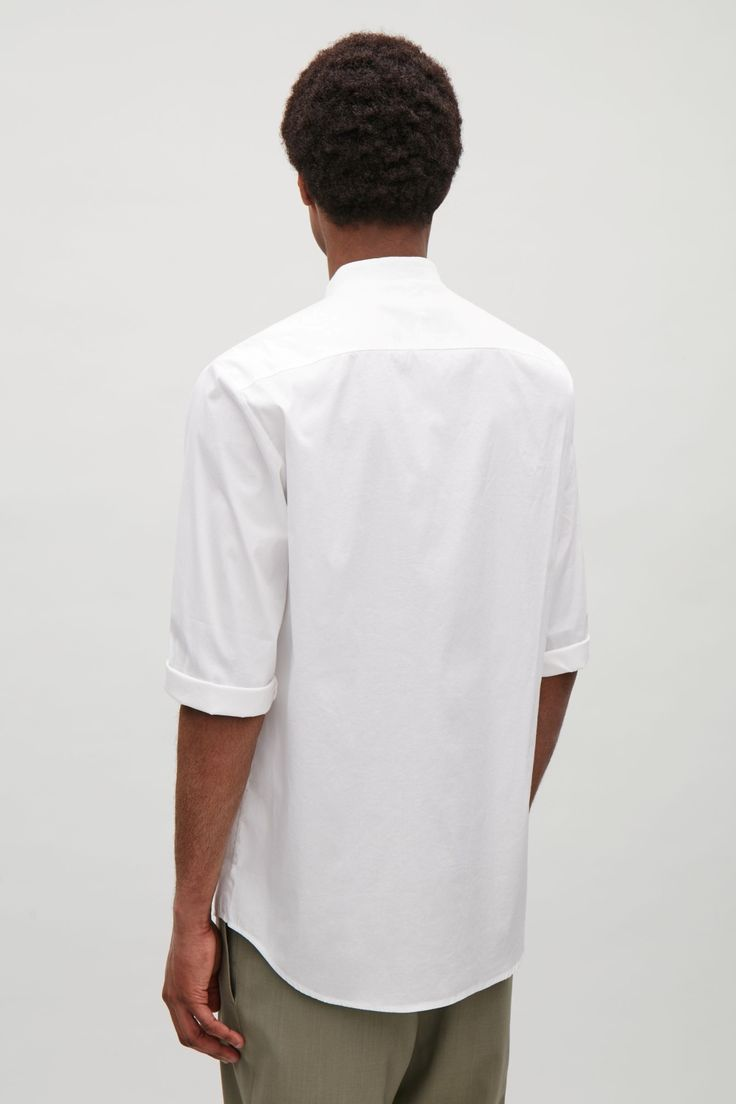 COS image 8 of 3/4 sleeve grandad shirt in White