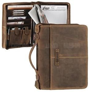 Leather A4 Conference Folder with Ring Binder Zipped Portfolio brown VINTAGE NEW                                                                                                                                                                                 More