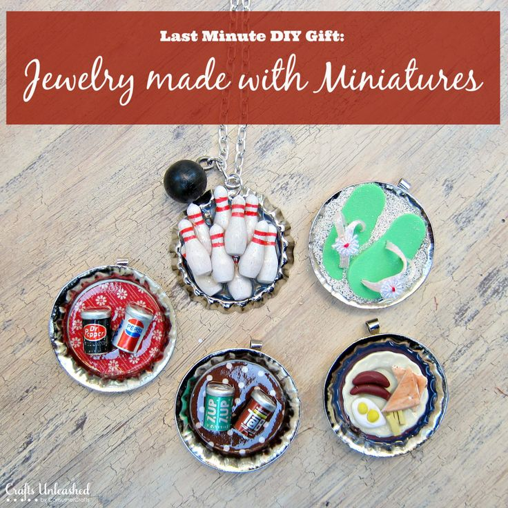 Use Dimensional Magic, bottle caps, and miniatures to make custom jewelry!