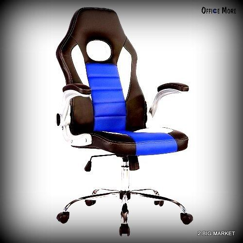 Escritoire Director Chair Black White Blue Turning Aloft Back PU Leathern Bureau #Uenjoy #Modern